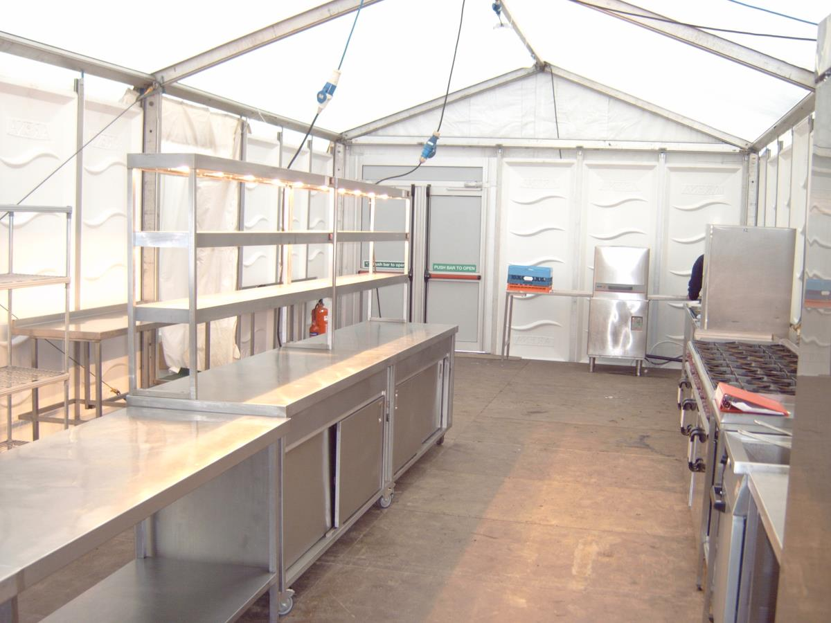 Kitchen for restaurant at a horse racing event.